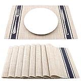 SueH Design Tovagliette Americane PVC 45 x 30cm Set 8 Pezzi Doppie Righe Blu...