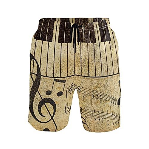 WowPrint - Pantalones cortos para hombre, estilo vintage, notas musicales, ligeros, de secado rápido, deportes, gimnasio, entrenamiento, verano, playa