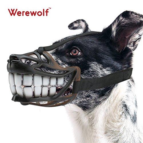 Adjustable Muzzle for Small or Medium Dog Soft Comfortable Werewolf Design to Prevent Biting Barking Medium, Sharp