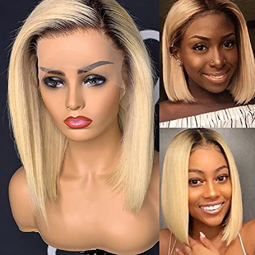 """13x4 Short Bob Lace Front Wigs Brazilian Virgin Human Hair Ombre Blonde Straight Glueless Lace Wig with Dark Roots for Black Women 10"""""""