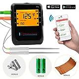 Newkiton Thermomètre à viande intelligent sans fil avec 2 sondes en acier inoxydable, Bluetooth thermomètre numérique compatible iOS et Android pour cuisine, fumoir, barbecue, four