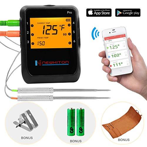 Newkiton Smart Kabelloses Fleischthermometer mit 2 Edelstahl-Sonden, APP gesteuertes Bluetooth-Digitales...