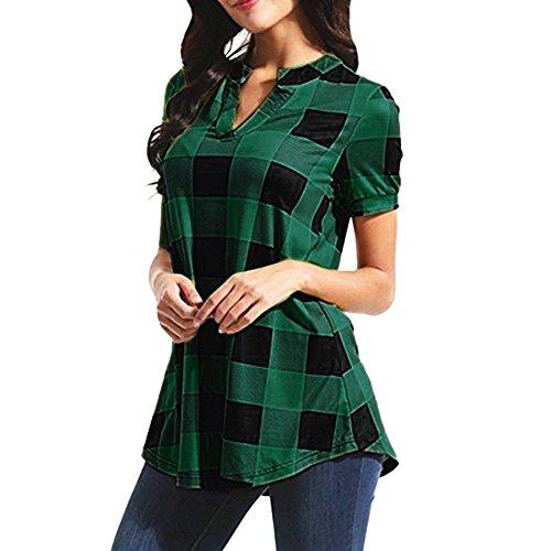 TWIFER Damen Kariertes Hemd Shirt Lässige Plaid Gedruckted Kurzarm V-Ausschnitt Bluse T-Shirt Mit Unregelmäßigem Saum Tops