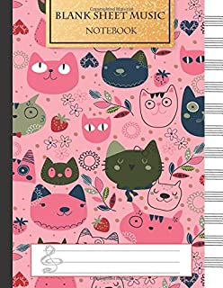 Blank Music Sheet Notebook: Music Manuscript Paper, Staff Paper, Music Notebook 12 Staves, 8.5 x 11, A4, 100 pages, Pink C...