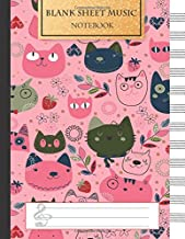 Blank Music Sheet Notebook: Music Manuscript Paper, Staff Paper, Music Notebook 12 Staves, 8.5 x 11, A4, 100 pages, Pink Cute Cat Journal (Music Composition Books) (Volume 1)