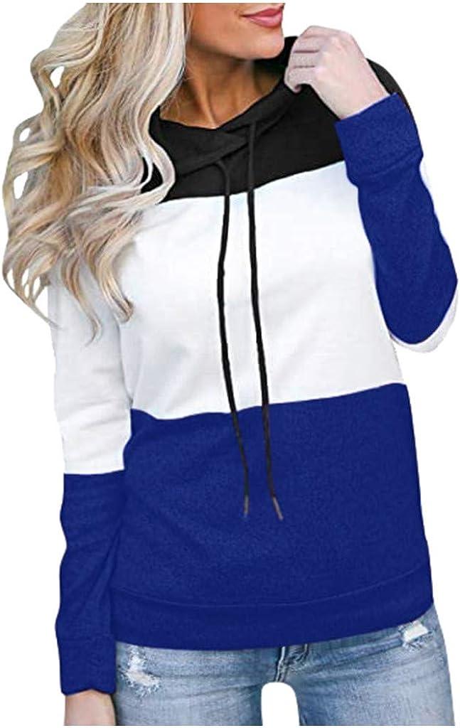 Women's Hooded Sweatshirts Casual Long Sleeves Patchwork Color Block Loose Pullover Hoodies Blouse Tops Sweatshirts