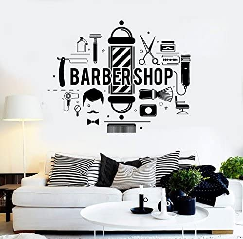 Melissalove Barbershop Hair Salon Stylist Wall Stickers Barber E co Friendly Vinyl Wall Decal product image