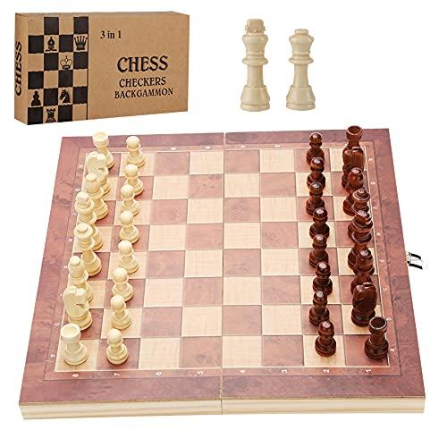 Hengda 3-in-1-Schachspiel für Kinder und Erwachsene mit faltbarem Brett(29*29cm)