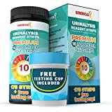 Generical X: 10 Parameter Urine Test Kit (175 Strips + Testing Cup) for UTI's, Ketosis, pH, Blood, Protein, Ascorbate | for Gallbladder, Bladder, Urinary Tract, Kidney, Liver Health
