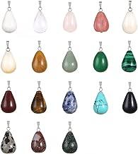 24pcs Oval Round Water TearsDrop Healing Chakra Charm Stone Beads Semi-Precious Gemstone Rock Crystal Quartz Stone Pendants for Necklace Jewelry Making