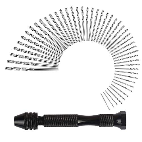 DOCOOP Hand Drill Set Precision Pin Vise With 49 Pcs Twist Drill Bits For Model,Diy,Jewelry Making,Multipurpose Rotary Tool Drilling Tool For Metal,Wood,Plastic Etc