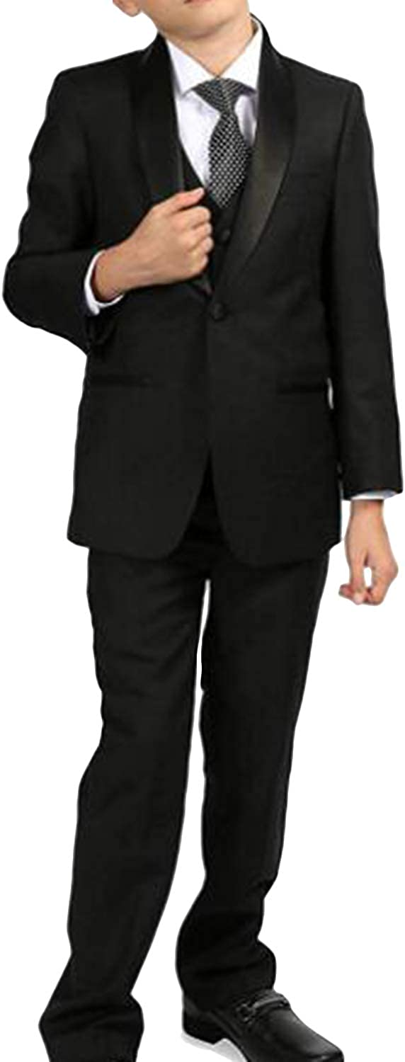 P&G Boys' One Button Suit Three Pieces ShawlLapel Complete Wedding Outfit