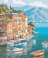 油絵 数字キットによる絵画海辺の町デジタル絵画油絵 数字キットによる絵画手塗り DIY絵 デジタル油絵塗り絵 40x50cm (フレームレス)