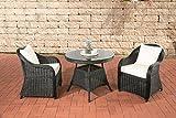 CLP Balkonmöbel Set BALAO, RUND-Geflecht, Stellfläche nur ca. 3 qm, 2 Garten-Sessel + Tisch rund Ø 90 cm Rattan Farbe schwarz, Bezugfarbe creme