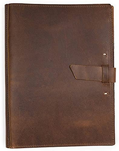 Rustico Leather Large Pad Portfolio by with Hand-Stitched Closure, 10 by 12.5 inches, Saddle braun, Made in The USA