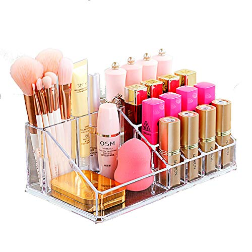Organizador Porta Maquiagem de Acrílico para Pincel, Batom e Blush