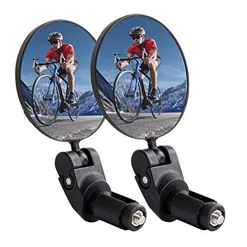 Arotuta Bicycle Rear View Mirror, 360°Rotating Bar End Mirror, Bike Handlebar Convex Mirror and Wide-Angle Mirror, for 17.4-22mm Flat Handlebars, Suitable for Mountain Bike/Road Bike Cycling (2 Pack)