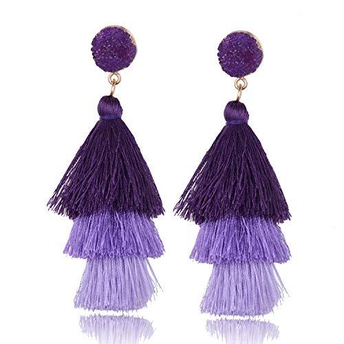 BGAFLOVE Tassel Earrings Colorful Long Layered Thread Ball 3 Tier Big Dangle Drop Earrings Bohemia Fan-shaped Hoop Stud Earrings for Women Girls Party and Daily Wear Purple Ombre