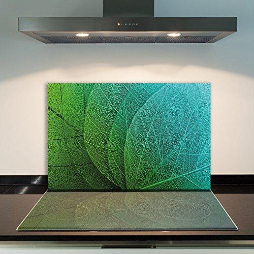 DAMU cubrir la vitrocerámica 1piezas 80x 52cm cubiertas de acero Cristal Hojas Verde eléctrico Horno Cocina de inducción Placa de protección contra salpicaduras Cristal–Tabla de cortar