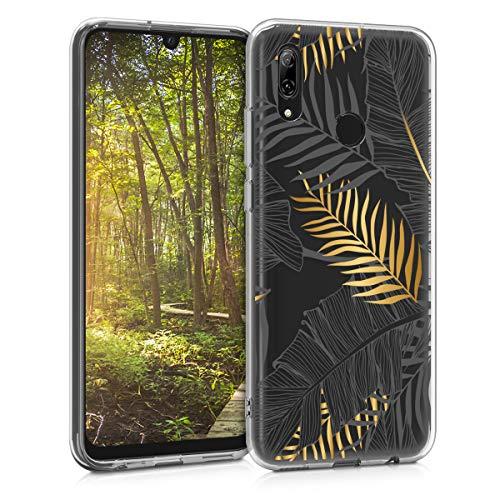 kwmobile Cover Compatibile con Huawei P Smart (2019) - Back Case Custodia Posteriore in Silicone TPU Cover per Smartphone - Back Cover Palme Oro Grigio Trasparente