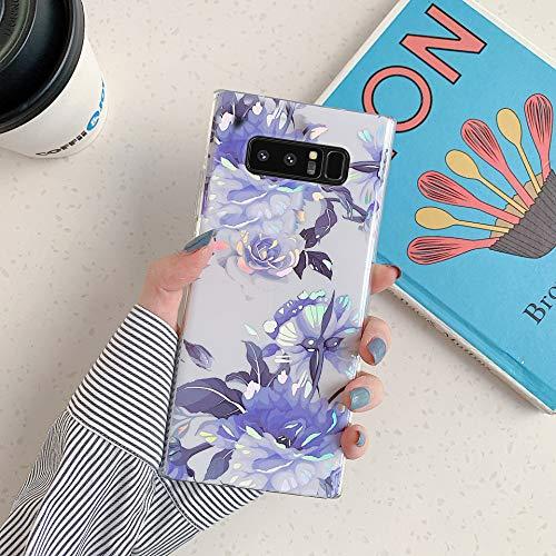 Herbests Kompatibel mit Samsung Galaxy Note 8 Hülle Transparent Silikon Blumen Schutzhülle Glitzer Glänzend Bunt Ultra Dünn weiche Silikon Handyhülle Tasche Rückschale Crystal Case,Blau