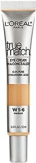 L'Oreal Paris True Match Eye Cream in a Concealer, 0.5% Hyaluronic Acid, Medium W5-6, 0.4 fl. Oz