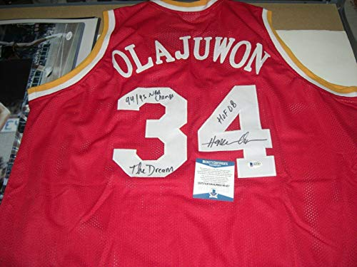 Hakeem Olajuwon Houston Rockets,hof 08,94/95 Champs Beckett/holo Signed Jersey - Autographed NBA Jerseys