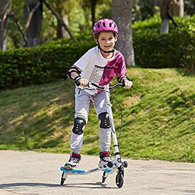 Amashion 3 Wheel Scooters for Kids Toddler, Swing Scooter 3-Level Adjustable Height Foldable Wiggle Scooter Self Drifting for Kids/Adult Age 3 Years Old and Up