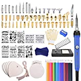 KINCREA 114pcs Wood Burning Kit, Professional Woodburning Tool with Soldering Ironfor Adults with Switch Adjustable Temperature 200~450 ℃ for Embossing/Carving/Soldering & Pyrography Tips