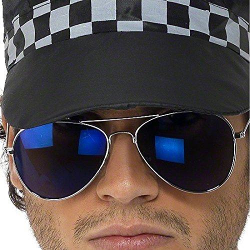 Amakando Coole Fliegerbrille Pilotenbrille blau Gangster Sonnenbrille Piloten Brille verspiegelt Proll Pornobrille Atzen Kostüm Accessoire