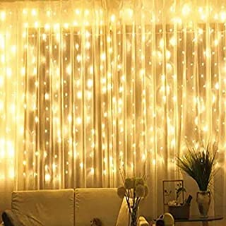 BHCLIGHT Window Curtain String Lights, 300 LED Upgraded Brightness Hanging Lights for Bedroom 8 Modes Fairy Lights Plug in, Garden, Wedding, Party (Warm White)