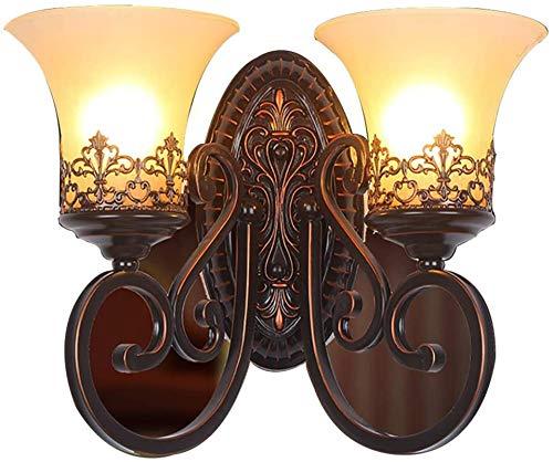 Lámpara industrial, Lámpara de pared Lámpara de pared europea moderna Lámpara de pared LED AMERICANA Lámpara de pared Lámpara de pared Creativa Lámpara de pared de doble cabeza, vidrio de pantalla, se