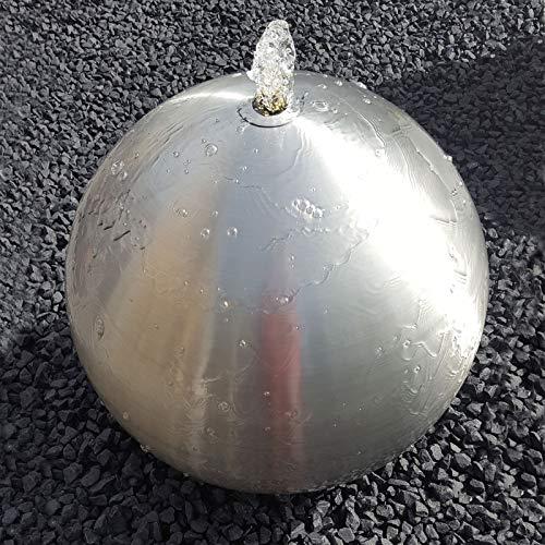 Kugelbrunnen 50 cm incl. LED Gartenbrunnen Wasserspiel Edelstahl matt gebürstet