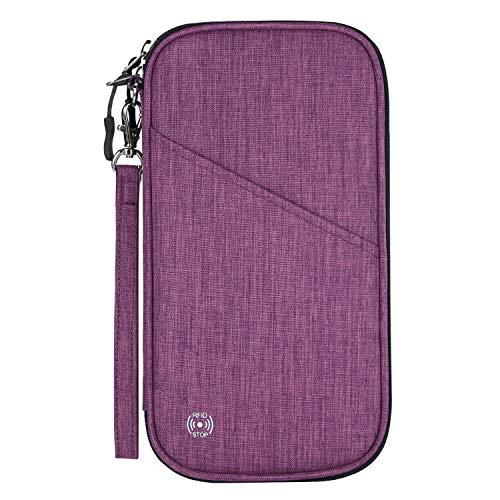 Vemingo, porta passaporto con design a fisarmonica RFID, da viaggio, porta biglietti e documenti, con cerniera, per donne e uomini Viola Dark Purple Standard