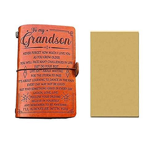styleinside 1 × A6 Cuaderno de Cuero PU Diario Cuaderno de Notas de Viajero Cuadernos de Regalo de cumpleaños - 200 x 120 mm (para mi Nieto)
