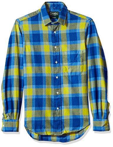 Gitman Vintage Men's Flannel Pull-Over Shirt, Blue/Green Plaid, S