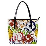 LORVIES Colorful Baseball Football Rugby Sac à bandoulière en cuir PU et sacs à main Sac fourre-tout pour femmes