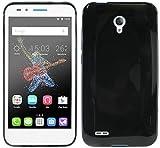 ENERGMiX Silikon Hülle kompatibel mit Alcatel One Touch Go Play (7048X) Tasche Hülle Gummi Schutzhülle Zubehör in Schwarz