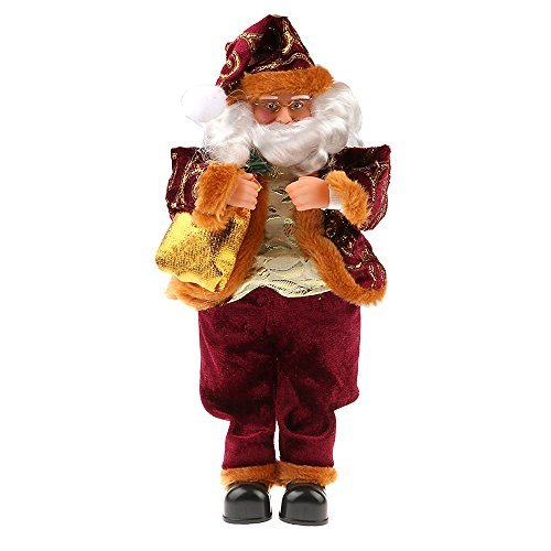 Arpoador 35cm Ornaments Decor Santa Claus Mustache Hat Doll Toy Christmas Gift Great Decortion to Home Office(Wine Red)