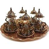 Juego de té Juego De Vasos De Té Otomano Turco, Bandeja De Cobre Con Estampado De Tulipanes Y Vasos De Té Y Cuenco De Delicias Turcas Grabado En Cobre Tradicional