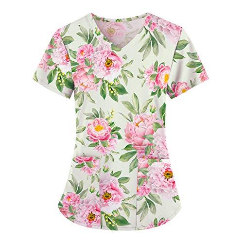 UNHU Kasack Damen Pflege Bunt Arbeitskleidung Uniformen V-Ausschnitt Schlupfhemd Berufskleidung Blume Bedruckt Nurse Kurzarm Bluse T-Shirts Schlupfkasack mit Taschen (Minzgrün, S)