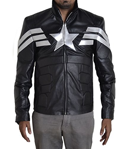 BURNING SKULL BSKULL Men's Captain America Motorcycle Faux Leather Jacket (2XL) Black Silver