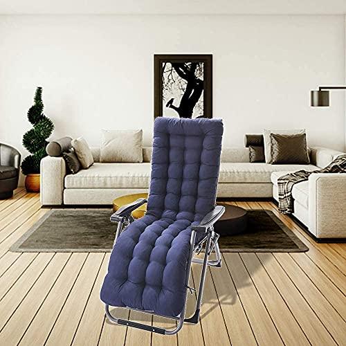 Cuscino Imbottito per Sdraio Rimbalzante Antiscivolo Fibra di Cotone Perlato con ManicottoFisso per Sdraio da Giardino Sedia a Dondolo 170cm (Blu)