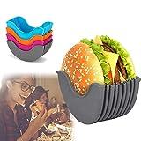 SOVOS Hamburger Buns Fixed Box, 4 Color Adjustable Hamburger Holder, Silicone Burger Holder Reusable Mess Hygienic Reusable Hamburger Box Silicone Rack Holder Burger Box