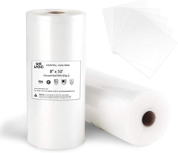 Vacuum Sealer Bags 8x50 Rolls 2 pack for Food Saver