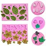 SIMUER 5Pezzi Leaf Fondant Silicone Mold 3D Mini Foglia d' Acero Rosa a Forma di Foglie DIY Cake Mold Cupcake Decoration Tool Assortiti