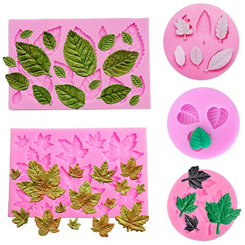Simuer Blätter Silikonform Schokolade Süßigkeiten Form 3D Backform Kuchen Dekorieren Werkzeuge DIY Silikon Backen Fondant Formen (Blütenblatt) 5 Pack