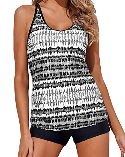 Yonique Tankini Swimsuits for Women with Boy Shorts Athletic Swim Tank Top 2 Piece Bathing Suits Black and White M