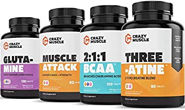 Power Output Stack (4 Supplement Bundle) by Crazy Muscle: Ultimate Strength Gainer & Weight Lifting Booster - Muscular Growth Stacks & Bundles Can Be Used PreWorkout / PostWorkout - 400 Pills Pack