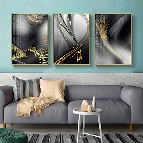 XIANGPEIFBH Nordic Abstract Gold Line Canvas Painting Black and Gold Posters Print Wall Art Picture Living Room Office Home Decor 40x60cmx3pcs Unframed